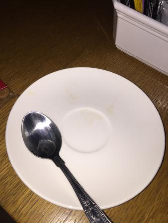 """South Normanton, UK: The """"fresh"""" cup and saucer in my room"""