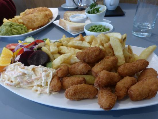 Scampi chips haddock chips picture of thompsons for Stellas fish cafe menu