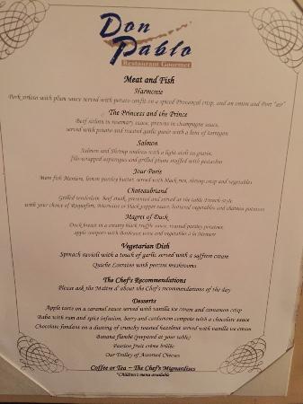 Don Pablo Restaurant Punta Cana Menu