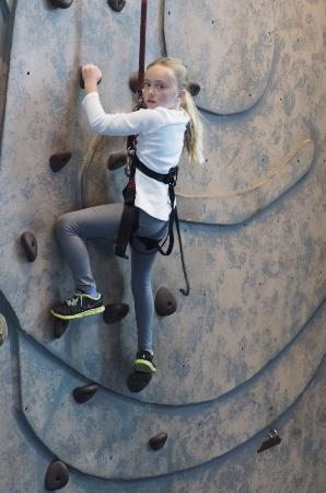 Thornton, CO: Savannah on the Climbing Wall.