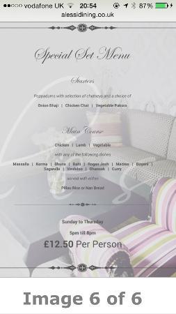 Alessi Indian Restaurant: Special set menu