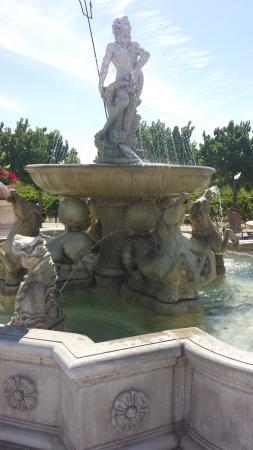 The Olive Press: fountain by vinyards