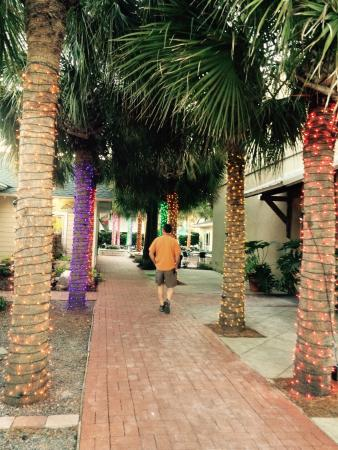 One Ocean Resort & Spa: Cobblestone paths and lighted Palm trees