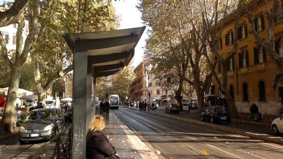 Nina Casetta De Trastevere: трамвайная остановка рядом с отелем