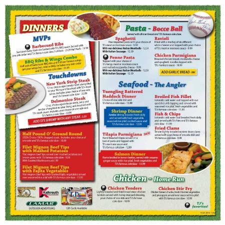 New Menu 2015 2016 Picture Of Tj 39 S Sports Garden