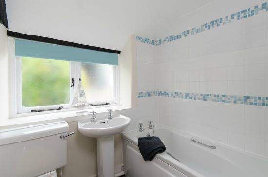 Winscombe, UK: Scrumpy Cottage - bathroom with shower over