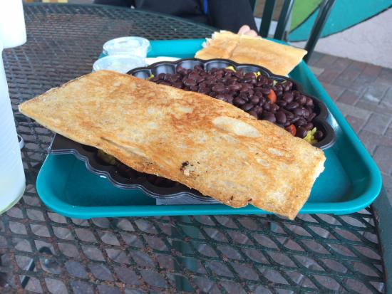 """The Floridian: Cuban black beans and rice with """"toast"""", fabulous."""