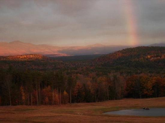 Snowville, NH: Rainbow, early morning in the Fall