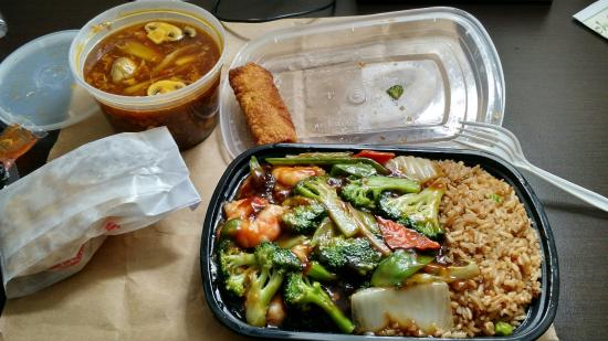 Byron Center, MI: C25 Shrimp with mix vegetables and hot & sour soup