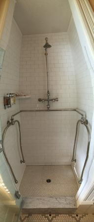 Upper Lake, CA: needle shower apparatus (slightly distorted pano)