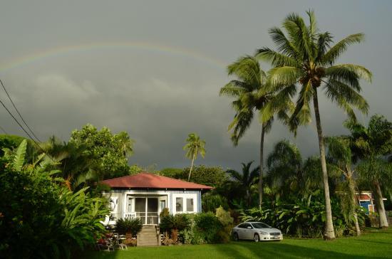 The Guest Houses at Malanai in Hana: Hale Ulu Lulu with a rainbow above