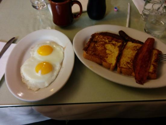 Eat Here Now: French Toast with two eggs, sausages and bacon