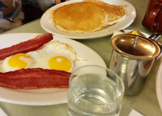Eat Here Now: Pancakes with two eggs and bacon