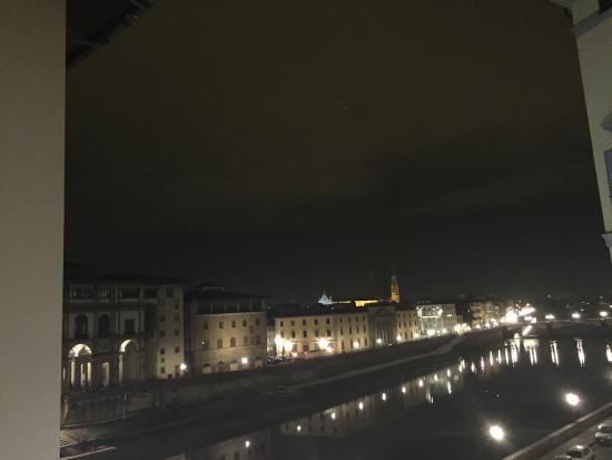 Promenade: The view of river Arno and Uffizi gallery.