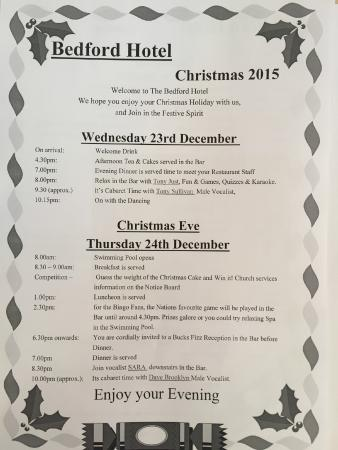 The Bedford Hotel: Full Christmas 2015 Itinerary