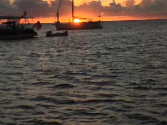 Simpson Bay, St. Martin/St. Maarten: Sunset as seen on board the catamaran