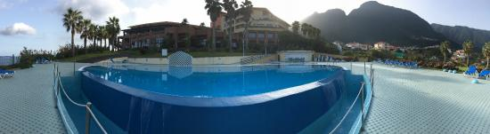 Ponta Delgada, Portugal: view from the outdoor infinity pool to the hotel