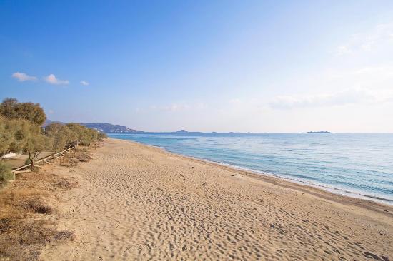 Naxos, Greece: Aerial view of Agia Anna sandy beach.