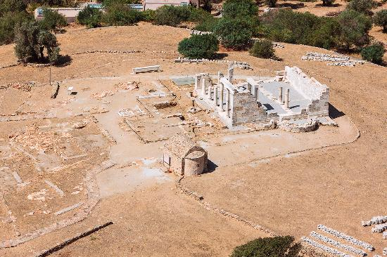 Naxos, Greece: Aerial view of the Temple of Demeter.