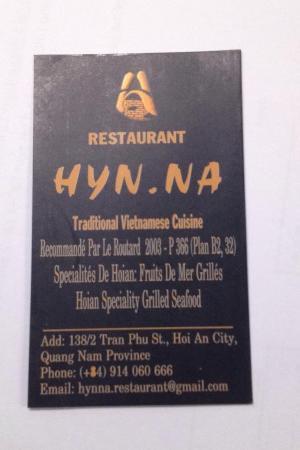 Hyn Na Restaurant Carte De Visite Recto