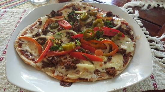 Martha's Guesthouse restaurant: Mayan pizza.. Absolutely superb