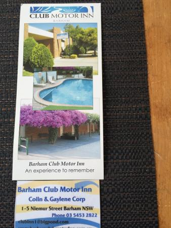 Barham Motor Inn: Contact detail for Barham Club Motor Inn
