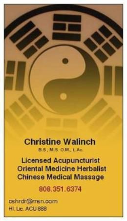 Kilauea, HI: Christine Walinch Licensed Acupuncturist, Chinese Cupping Specialist