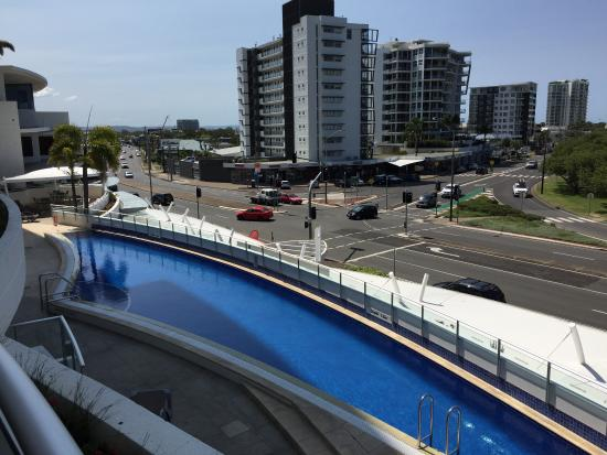 The Sebel Maroochydore: view of pool and local 'strip'