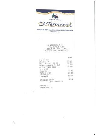 scontrino del pranzo - Picture of Ristorante Pizzeria \'a Terrazza ...