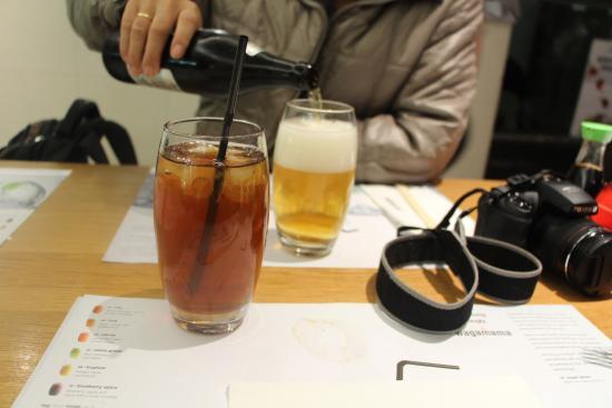 ビールとアイスティ