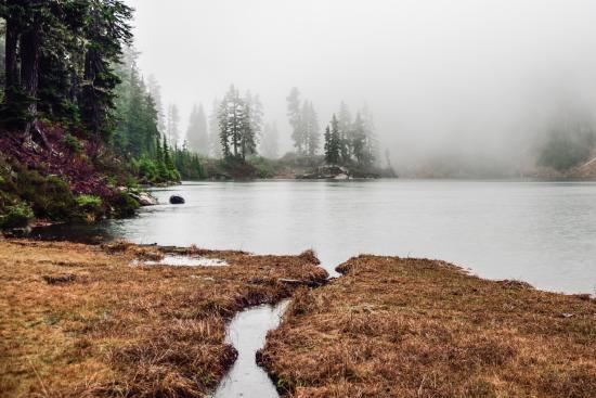 Blue Lake trail: Blue Lake Shrouded in Fog