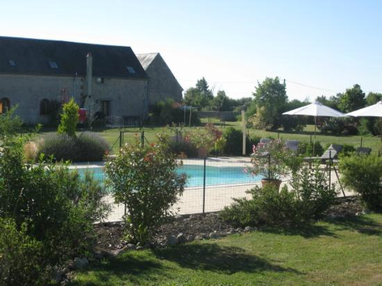 Cussay, Francia: Across the pool to the gites