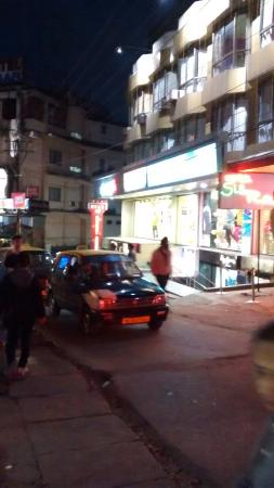 Hotel Silk Route: narrow road outside the hotel building that remains full in the peak hours.