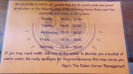 Olga's - The Italian Corner: Load shedding