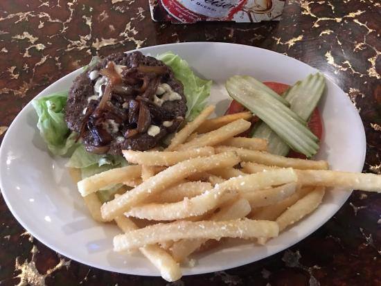 Grind Brgr Bar: The Grind Burger (no buns) and fries topped with truffle and parmesan  n