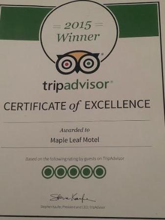 Maple Leaf Motel: 2015 Trip Advisor Award
