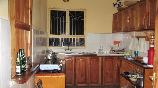 Tembo Guesthouse: The indoor kitchen. A tradition outdoor three stone kitchen in the back is used for large gather