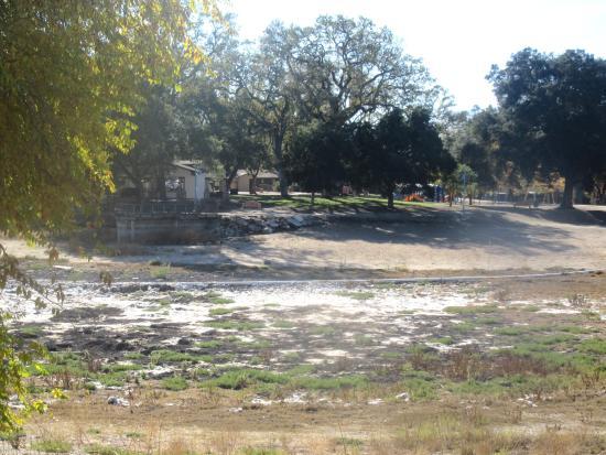 Not a drop of water in the lake at Atascadero Lake Park, Atascadero, Ca
