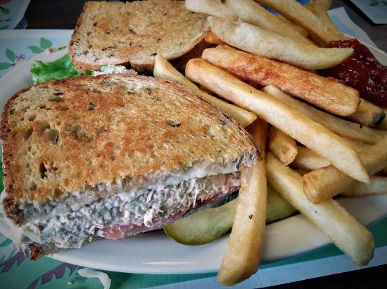 Fort Edward, Nowy Jork: Tuna Melt served with fries and coleslaw