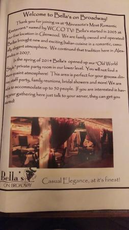 Alexandria, MN: About Bella's
