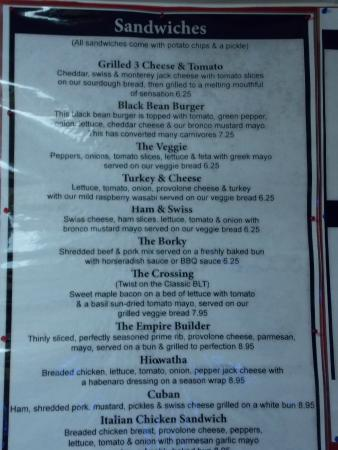 Columbus, WI : This is our menu