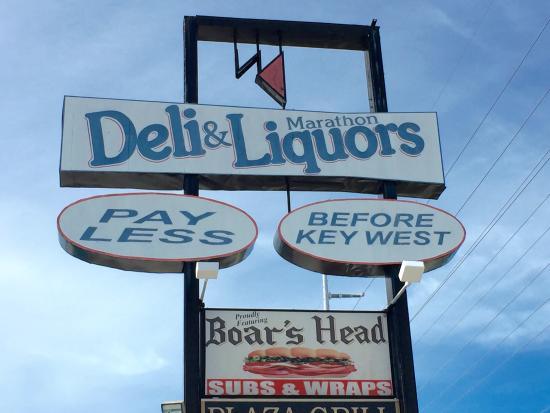 Marathon Liquors and Deli: Sign out front