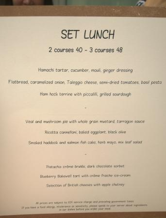 Set Lunch Menu - Picture of Bread Street Kitchen, Singapore