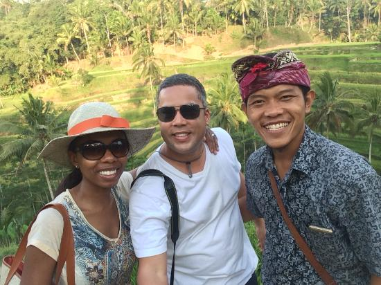 Bali Traditional Tours - Day Tours: Myself, my wife and out tour guide Gusti at the rice terraces of Tegallalang