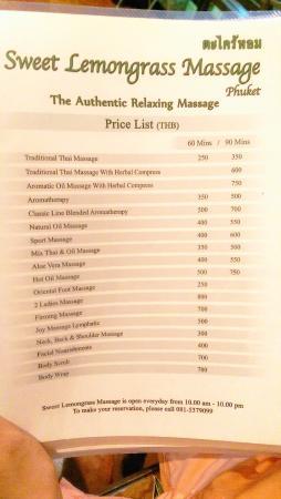 Sweet Lemongrass Massage : Sweet Lemon Grass Price List