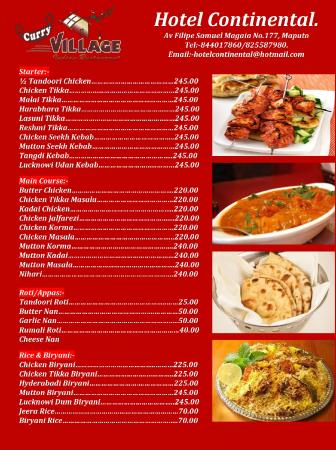 Indian food menu picture of hotel continental maputo for About continental cuisine
