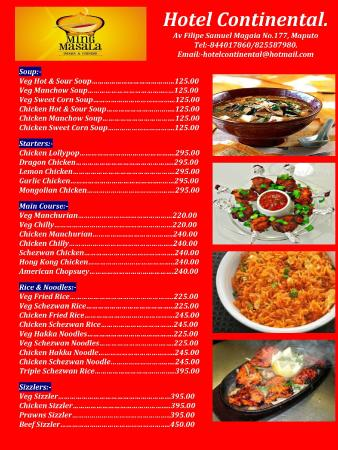 Chinese Food Menu - Picture Of Hotel Continental, Maputo - Tripadvisor