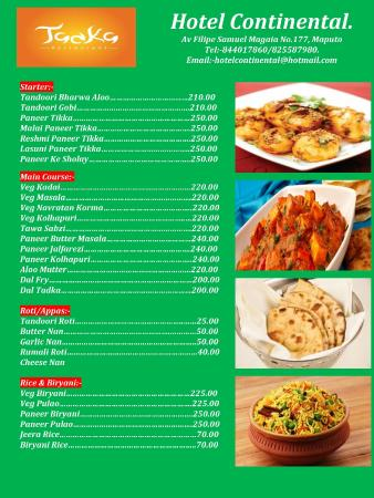 Veg food menu picture of hotel continental maputo for About continental cuisine