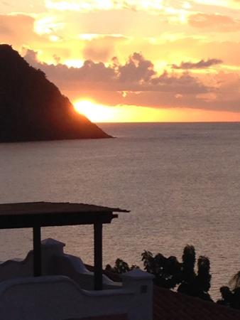 Cap Estate, St. Lucia: Sunset from villa rooftop pool...