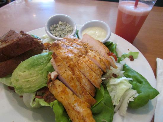 Swami's Cafe: BLTA salad with chicken, fresh-squeezed grapefruit juice